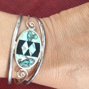 ALBACA MEXICO BRACELET INLAY ABALONE MOTHER OF PEA